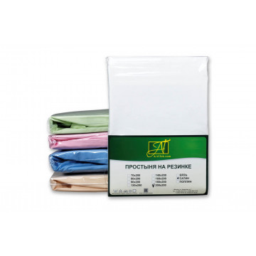 ПР-СО-150-БЕЛ Белая Простынь ткань Сатин однотонный 150х214