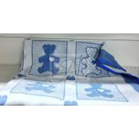 """Одеяло маленькое """"Барни"""" 100х140 бело-голубое"""