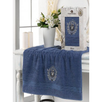 10224 Темно-голубой BOSS 70х130 полотенце в коробке MERZUKA