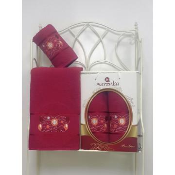 8981 Бордовый PRESTIJ (50х90+70х140 ) в коробке набор полотенец MERZUKA