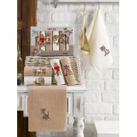 11543-коричневый Тигрята В (30х50)х6шт в коробке Набор кухонный Метеор