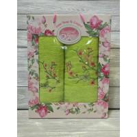 Салатовый Райская Бабочка (50х90+70х140) комплект полотенец в коробке VILENA