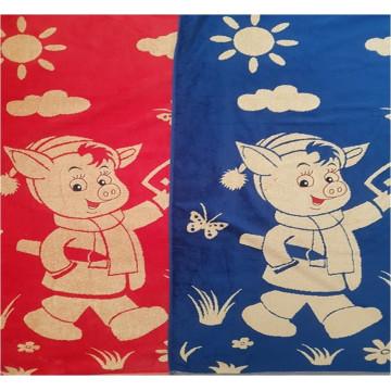LI10-348B2 Красные-Синие ПОРОСЕНОК Велюр-Пестротканное 36х36 (12) Салфетка с петелькой СГ