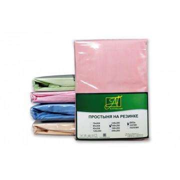 ПР-ПО-Р-180(180)-РОЗ Розовая простыня Поплин однотонная на резинке 180х200х25